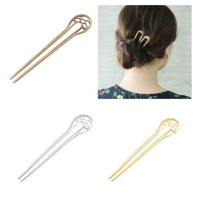 Womens U-Shaped Metal Long Hair Fork Hollow Out Antique Vintage Stick Hairpin a