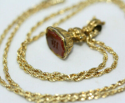 """Antique 1900's 9K Gold Agate Shield Pendant 10K Solid Yellow Gold Necklace 18"""""""