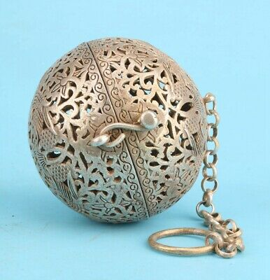Antique Tibetan Silver Pendant Incense Ball Hollow Flower Handicraft