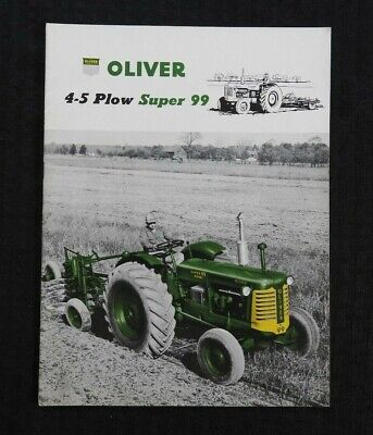 """1955 """"Oliver 4-5 Plow Super 99 Tractor"""" Brochure Catalog Very Nice Shape"""