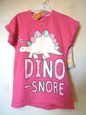 Bluezoo Girls Dino Snore Pyjama Set Top & Shorts Age 7-8 Years BNWT Aqua/Pink