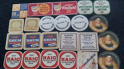 VINTAGE Variety of 26 DRINK BAR COASTERS some used