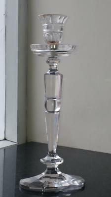 Fine Tall Regency Lead Crystal Cut Glass Candlestick with Oval Base 33.5 cm High
