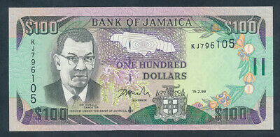"Jamaica: 15-2-1999 $100 ""SIR DONALD SANGSTER"". Pick 76b UNC"