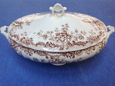 Antique Aesthetic Wm Hulme Brown Transferware Covered Serving Dish Maine Pattern