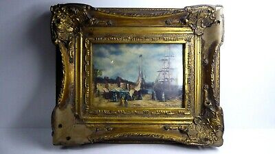 Antique Style Decorative Faux Carved Gilt Ornate Framed Ship Painting  As Found