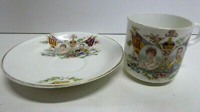 Antique Osborne China Queen Mary King George June 1911 Royal Cup & Saucer