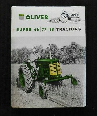 """1954 """"The Oliver Super 66 77 88 Tractor"""" Catalog Fold-Out Poster Brochure"""