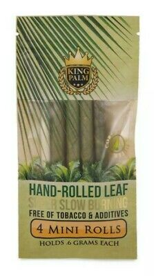 King Palm Mini Rolls Leaf Organic - 20 PACKS - Natural 4 Per Pack Filter FAST