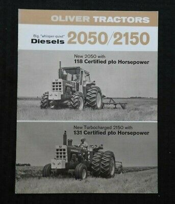 """1968 """"New Oliver 2050 & 2150 Turbocharged Diesel Tractor"""" Catalog Brochure Nice"""