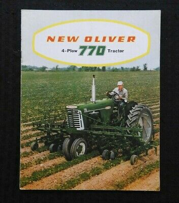 """1959 """"Oliver 4 Plow Power 770 Tractor"""" Row-Crop Orchard Wheatland Brochure Nice"""