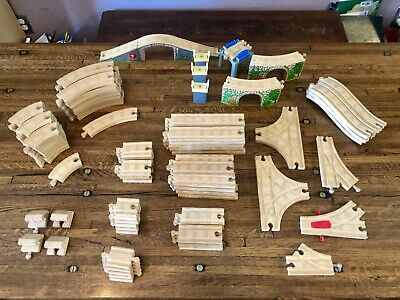 Thomas Wooden Railway Railroad Wood Curved Train Tracks Lot Toy Game Play Set 52