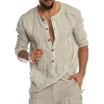Mens Button V Neck Cotton Linen Long Sleeve Tops Blouse Slim Fit Casual Shirts