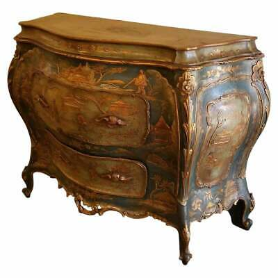 Antique Venetian Chinoiserie Bombe Commode