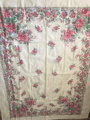"""Vintage Shabby Cottage Pink Flowered Tablecloth 52""""x64"""" Great Condition"""