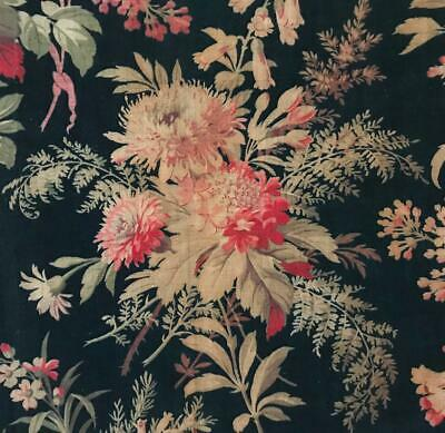 BEAUTIFUL 19th CENTURY FRENCH NAPOLEON III LINEN COTTON, PINK FLORALS  c1870 82