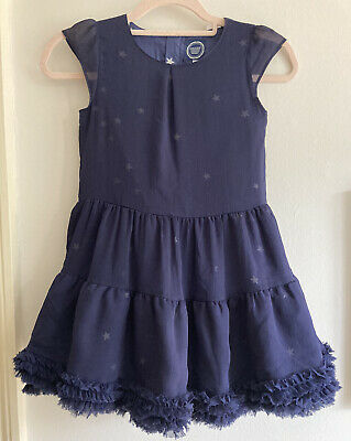 Joules Girls Navy Blue Star Ruffle Hem Party Dress , Size 8 Yrs , Excellent Cond