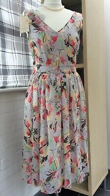 Laura Ashley Dress New + Tags Floral Grey Pink Size 10 Silk Blend + cotton slip