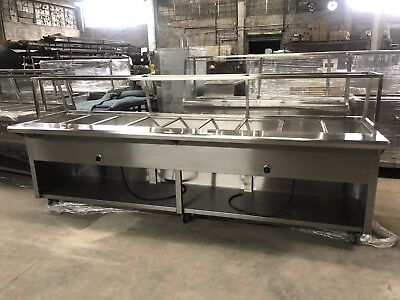 """120"""" 10ft All Stainless Steel Electric Steam Table 9 Pans 208V w/ Sneeze Guard"""