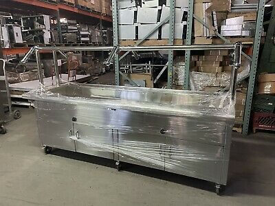 """96"""" Stainless Steel Steam Table Electric 208V 1PH W/ Buffet Style Sneeze Guard"""