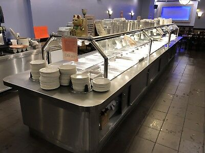 """Stainless Steel Electric Steam Table Buffet 255"""" 32 Pans 208V 1PH w Sneeze Guard"""