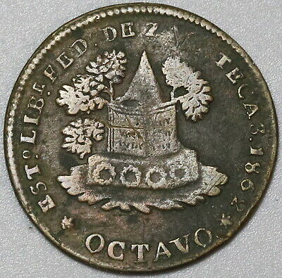 1862 Zacatecas 1/8 Real Mexico State Octavo Coin (19092205R)