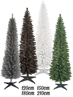 Slim Pencil Pine Christmas Tree 4ft 5ft 6ft 7ft Xmas Artificial Festive Cone