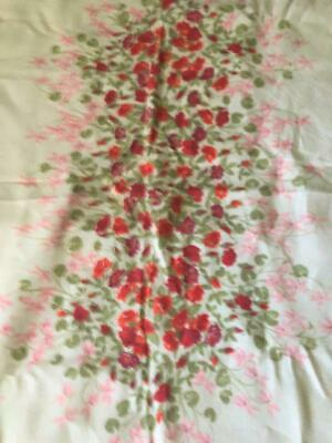 """Vintage Shabby Cottage Retro Cotton Tablecloth Red Roses Pink Flowers 54""""x76"""""""