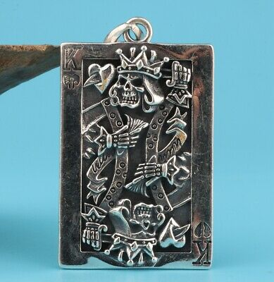 Precious Chinese 925 Silver Pendant Plate Hand-Carved Poker King Mascot Decora