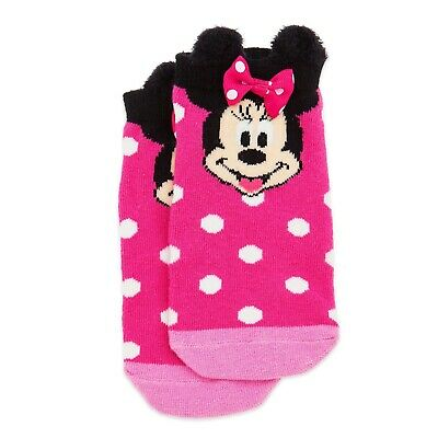 Disney Store Minnie Mouse Pink Polka Dot Ankle Socks Kids Girls Size S M L NWT