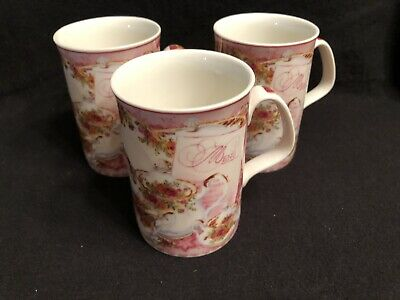 Set of 3 ROYAL ALBERT OLD COUNTRY ROSES AFTERNOON TEA MUG - Pink EUC