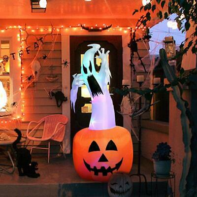 6ft Halloween Inflatable Blow Up Ghost on Pumpkin with Color Changing LED Inflat