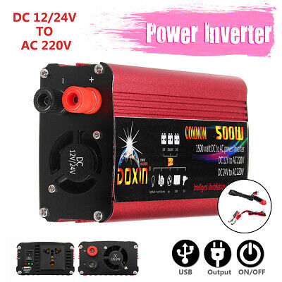 Large 1000W Car Power Inverter DC 12/ 24V to AC 220V Sine Wave USB Converter