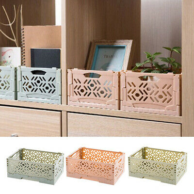 Plastic Folding Storage Container Basket Crate Box Stack Foldable Portable UK