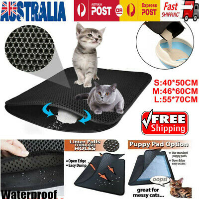 AU Double Layer Cat Litter Trapping Mat  Honeycomb Design Foldable Tray Trap Pad