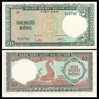 SOUTH VIETNAM 20 DONG ND 1964 P 16 UNC W //YELLOW FOXING