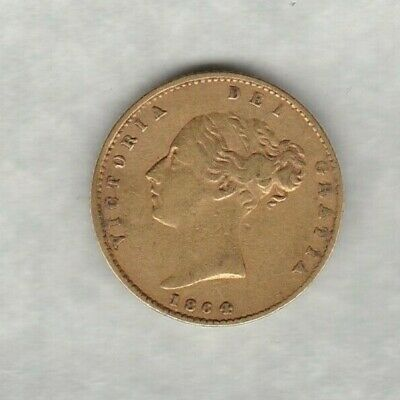 1864 Die Number 9 Young Victoria Gold Half Sovereign In Near Very Fine Condition