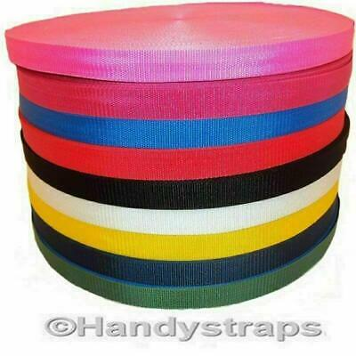 "Polypropylene Webbing 100 Metre Roll x 25mm colour 1"" and Choice of Colour"