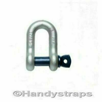 "Dee Shackles D Shackle 8.5 tons Galvanised Tested 1"" pin Lifting Handy Straps"