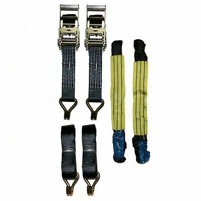 "Recovery Ratchet 2 x4mtr Black Transporter Strap Short Handles 18"" Soft Ring"