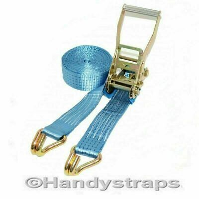Ratchet Cargo Tie down Straps 4 Metre x 50mm Blue 5 tons Claw Lashing