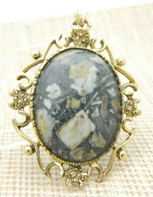 Black Tan Fossil Stone Gold Tone Pendant Necklace Vintage