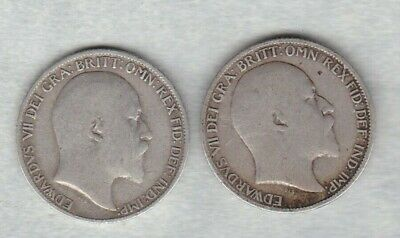 Two 1906 & 1907 Edward Vii Sixpences In A Used Fine Condition