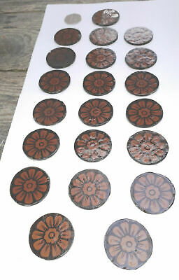 21 victorian handpainted kiln fired 41mm (for stained glass window). S953