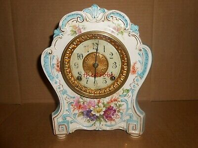 Antique Ansonia Royal Bonn La Hay 1755 Porcelain Clock