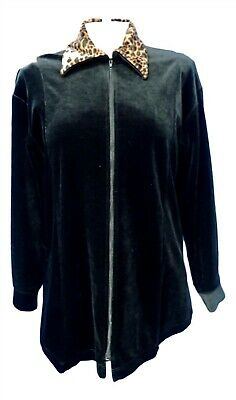 06681 Dan Howard Soft Black Velvet Leopard Print Women's Jacket Sz S
