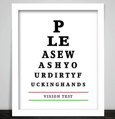 A Rude Funny Eye Chart. Toilet Bathroom Loo Print Poster. Wash your Hands Sign