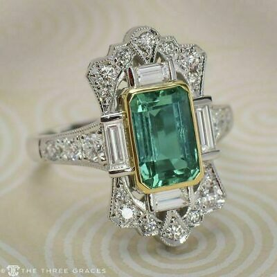 3Ct Emerald Cut Blue Topaz Halo Engagement Ring 14K Solid White Gold Finish