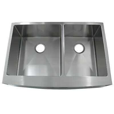Gourmetier BRKUF332210DBNL Front Farmhouse Double Bowl Kitchen Sink,Brushed