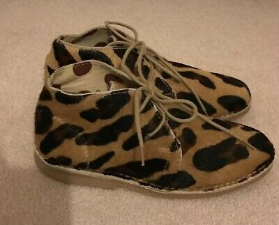 Next Girls Leopard Print Boots, Size Uk 1 - Immaculate
